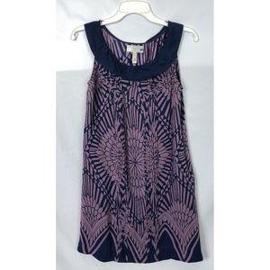 ANTHRO Purple Navy Blue Silk Pleated Silk Dress
